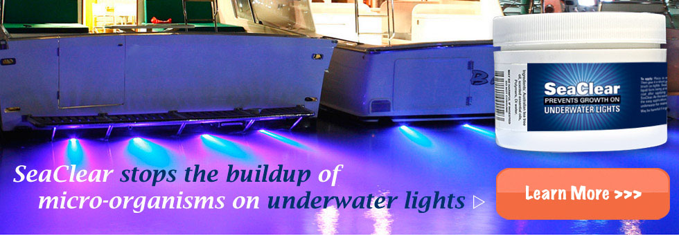 SeaClear Prevents Growth on Underwater Lights - Click Here to Purchase Online!
